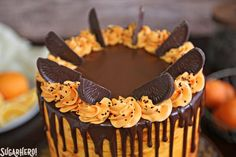 Chocolate-Orange Cake - If you love chocolate-orange flavors, this cake is for you! It's a delicious chocolate cake filled with tangy orange buttercream and topped with chocolate oranges. | From SugarHero.com