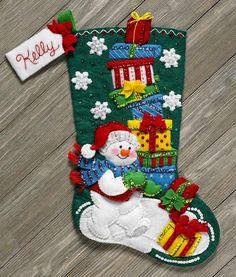 Bucilla Snowman With Presents ~ Felt Christmas Stocking Kit Frosty DIY Felt Stocking Kit, Christmas Stocking Kits, Stocking Tree, Christmas Crafts, Christmas Decorations, Cute Christmas Stockings, Green Gifts, Felt Applique, Christmas Traditions