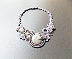 Statement soutache jewelry. White Wedding by Soutachebypanka