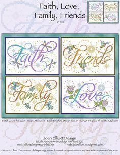 Faith, Love, Family, Friends - Cross Stitch Pattern
