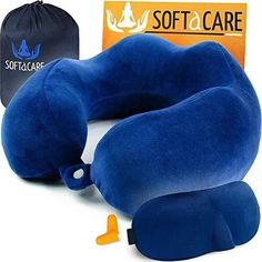 Buy SOFTaCARE Travel Pillow – Universal Neck Pillow For Kids, Men And Women – Ideal Airplane Travel Kit - Premium Memory Foam Pillow With Soft Velour Washable Zippered Cover, Mask, Luxury Bag, Earplugs Foam Pillows, Baby Pillows, Kids Pillows, Animal Pillows, Airplane Kids, Airplane Travel, Neck Pillow Travel, Travel Pillows, Car Seat Pillow