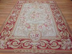 Fascinating Floral - Vintage  French Aubusson Rug - Flat Woven 6 x 9 ft. #Floral