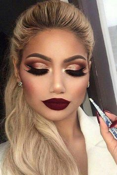 Bold Burgundy Lips With Golden Red Shimmer Winged Eyes #Valentinesdaymakeup #Valentinemakeup #Makeupideas #Eyemakeup