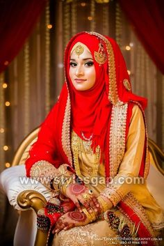 Latest Bridal Hijab Styles Dresses Designs Collection consists of Asian, desi fashion & Arabic fancy hijab dresses, gowns and frocks, maxis, etc Muslimah Wedding Dress, Muslim Wedding Dresses, Muslim Brides, Hijabi Wedding, Wedding Wear, Wedding Cakes, Modest Wedding, Muslim Women, Hijab Gown