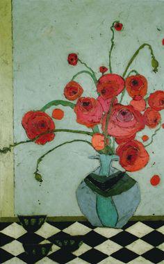 Karen Tusinski - Poppies in Urn on Tile