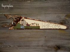 Primitive Welcome Sign Handpainted Primitive by theprimplace