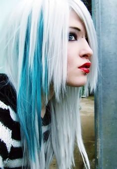 Icy blue and white hair