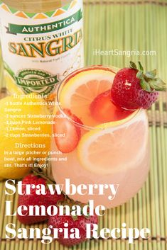Here's a boozy, adult version of strawberry lemonade. It's simple and delicious to make. Sangria Cocktail, Summer Sangria, White Sangria, Sangria Recipes, Cocktail Recipes, Strawberry Lemonade Sangria, San Pellegrino, Vodka, Beverages