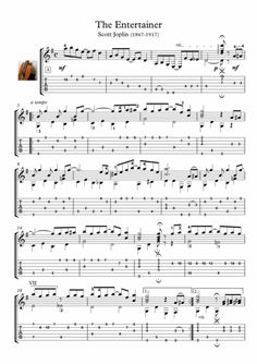"""The Entertainer"" is a 1902 classic rag written by Scott Joplin. Here is an arrangement for Classical guitar solo. Music Theory Guitar, Guitar Tabs Songs, Music Tabs, Easy Guitar Songs, Guitar Chord Chart, Jazz Guitar, Guitar Solo, Music Guitar, Playing Guitar"