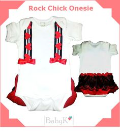 For your little Rock Chick! From BabyK. Cute Little Baby, Little Babies, Rock Chick, Custom Made, Onesies, Girls, Color, Outfits, Clothes
