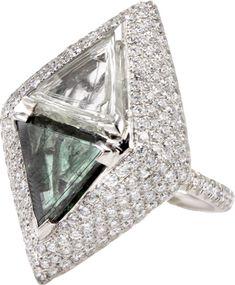 Diamond in the Rough - trillion cut bypass diamond ring with pavé set diamonds