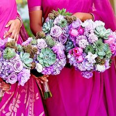 When your game is out of this world. Hot pink and purple wedding bouquet inspiration with succulents Purple Wedding Bouquets, Flower Bouquet Wedding, Floral Bouquets, Wedding Dresses, Hot Pink Weddings, Summer Weddings, Strictly Weddings, Indian Weddings, Hand Tied Bouquet