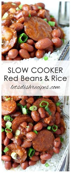 Slow Cooker Red Beans and Rice Recipe: Red beans and andouille sausage, slow cooked and served over hot cooked rice, with a green onion garnish. Red beans and andouille sausage, slow cooked and served over hot cooked rice, with a green onion garnish. Slow Cooking, Slow Cooked Meals, Cooking Recipes, Slow Cooker Sausage Recipes, Recipes With Andouille Sausage, Cooking Ribs, Cooking Light, Recipes For Rice Cooker, Crockpot Keilbasa Recipes
