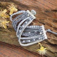 Grey mix Cuff bracelet, Boho bracelet, Beaded bracelet, Bridal gift - Diy and crafts interests Fabric Jewelry, Beaded Jewelry, Antique Jewelry, Silver Jewelry, Handmade Bracelets, Handcrafted Jewelry, Silver Bracelets, Jewelry Bracelets, Silver Ring
