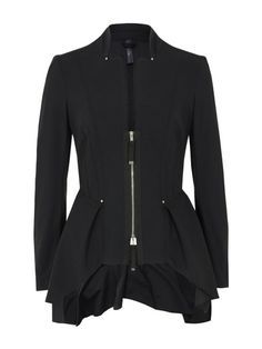 High – Impromptu, womens fitted black jacket that drapes over the hips with concealed pockets and an exposed two way zip fastening. The jacket is unlined and also features a raw cut collar, five-button cuff and fitted, panelled rear with a silver High embossed rear collar tab. £400 at coggles.com