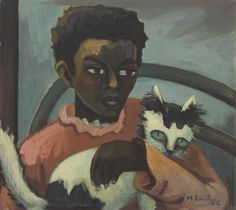 Maggie Laubser - 'Girl with cat', 1932 Different Forms Of Art, South African Artists, Watercolor Cat, Cat People, Here Kitty Kitty, Paintings I Love, Vintage Cat, Crazy Cats, Figurative Art