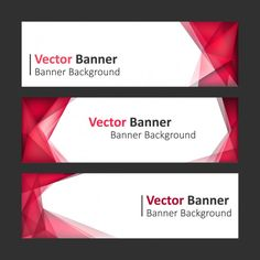 Red with polygonal shapes banners set Free Vector