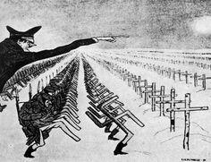 """Uma das tantas charges soviéticas ironizando as ações de Hitler: o Führer enviando seus soldados à morte certa na vastidão da União Soviética. Ironicamente, essa caricatura se manifestaria correta no início de 1943, quando finalmente encerrada a Batalha de Stalingrado, onde aproximadamente dois milhões de """"alemães"""" e """"russos"""" pereceram (cerca de 750 mil baixas para o lado alemão e uma assustadora soma de 1,2 milhão do soviético). Imagem: autor desconhecido."""