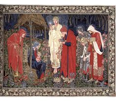 Flemish Tapestry Wall Hanging Morris & Co - The Round Table  First produced in 1890 for Exeter College, Oxford, the Adoration of the Maji became Morris & Co's most popular ecclesiastical tapestry. Originally designed by Edward Burne-Jones, specifically for tapestry with background detail by John Henry Dearle, it was considered by William Morris to be one of the company's most notable achievements. Code: 14509  Size: 94cm x  147cm - larger sizes available upon request  Made in Belgium