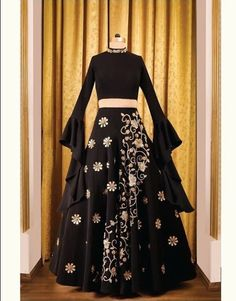 Contact the label for getting your dream outfit made. Best of th Indian Wedding Outfits, Bridal Outfits, Indian Outfits, Bridal Dresses, Black Lehenga, Indian Bridal Lehenga, Bridal Mehndi, Indian Designer Wear, Festival Wear