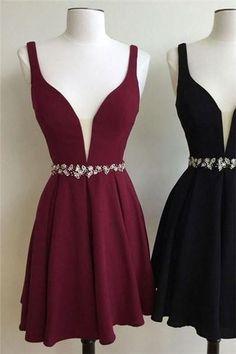 Burgundy Simple V Neck Chiffon Black Short Homecoming Prom Dress