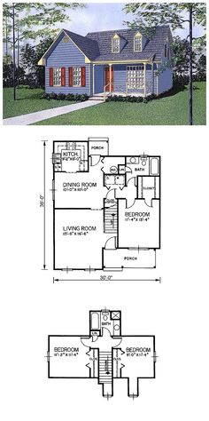 House Plan 45428 | Total living area: 1359 sq ft, 3 bedrooms & 2 bathrooms. #houseplan #capecod