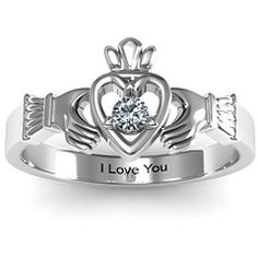 Round Stone Claddagh Couples Ring... wannnt