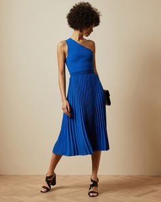 Asymmetric knitted midi dress - Bright Blue | Clothing | Ted Baker Bright Blue Dresses, Asymmetrical Tops, Pleated Midi Skirt, Ted Baker, Personal Style, Summer Dresses, Skirts, Outfits, Clothes