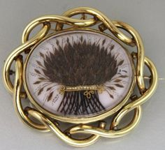 Very Large Victorian Mourning Memorial Brooch Finest Hair Art Work Both Sides