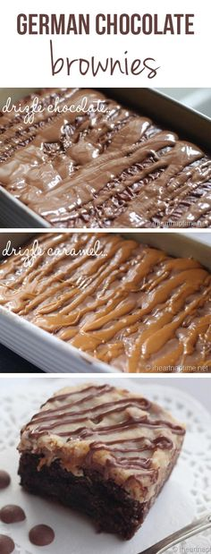 German chocolate brownies ...drizzled with extra caramel and chocolate! The BEST! #dessert #recipes