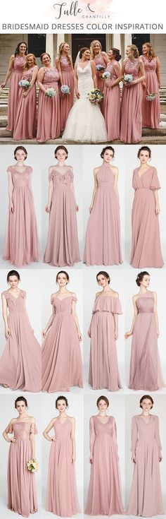 dusty rose bridesmaid dresses for 2018 trends #bridalparty #bridesmaiddresses #weddinginspiration