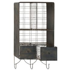 Showcasing 3 wire cubbies, 3 hooks, and 2 drawers, this mounted rack brings order to any space in flea market-chic style.   Product...