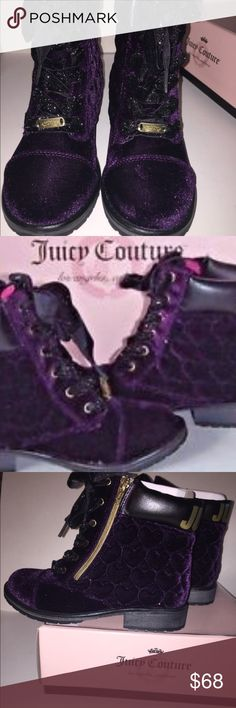 Velveteen boots☃️🎁 The detail on these are the cutest An the color is an fav. Only worn once. Juicy Couture Shoes