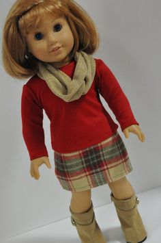 Tan and Red Plaid Skirt, Red Shirt, tan infinity scarf by CircleCSewing American Girl Food, American Girl Dress, American Doll Clothes, Ag Doll Clothes, American Dolls, Doll Clothes Patterns, Doll Patterns, Clothing Patterns, Winter Outfits For Girls