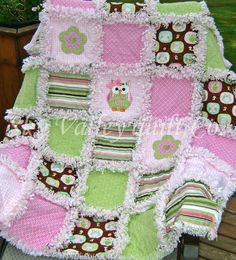 Baby girl Rag quilt  NEW Summer  Owl in Pink by skyvalleyquiltco, $139.99