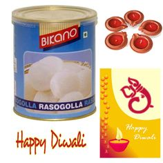 Bikano Rosogolla with Diwali greeting card and Decorative Diyas combo, Sweet Gift for everyone in this hamper.Treat your loved ones to a rich assortment of uniquely blended.This is a item thus slight variation may occur in terms of color and design.  Bikano rasogulla - 1kg Diwali Greeting Card - 1 Pic/ Decorative diyas - 5 Pics.  https://www.zorataa.com/diwali-offer/bikano-rasgolla-with-diwali-card-anddiyas
