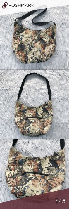 """VINTAGE 90s Tapestry Cat Lady Purse Bag Calling all cat ladies! This is an amazing rare vintage tapestry style CAT purse from the 90s. The brand is Tapestry & Company. Front zipper pocket and side pocket. It's almost bucket shaped - has lots of room and a zipper closure. In really great vintage condition!  ✨🛍 Measurements 🛍✨ Width: approx. 15"""" Length: approx. 28"""" with strap, 11"""" without strap Depth: approx 5""""  🙅🏻 NO TRADES 🙅🏻 Vintage Bags"""