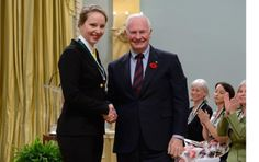 This is a photo of Julie Lalonde--a recent Carleton graduate--receiving an award from the Governor General for her activism. Among other things, Julie was one of the leaders of the struggle to establish a student-run Sexual Assault Support Centre on campus and is the coordinator of the Carleton Sexual Assault Support Line. -Peter H. Support Center, Leadership, Centre, Suit Jacket, Collage, Student, Running, Racing, Keep Running