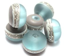 Glass Lampwork Beads Handmade Pale Aqua Gray Ivory Silvered Ivory 92413001 on Etsy, $30.00