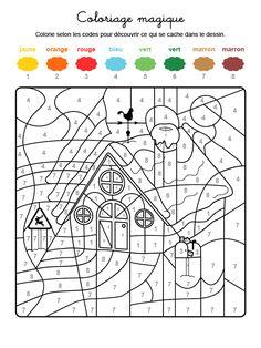 Dibujo mágico para colorear en francés de la casa de Papá Noel Christmas Color By Number, Christmas Colors, Winter Christmas, Elderly Activities, Winter Activities, Olli Und Molli, Adult Coloring, Coloring Pages, German Language Learning