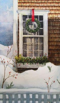 """Nantucket Christmas"" - 9.25"" x 5.5"" watercolor on paper.  Painting by Kara K. Bigda."