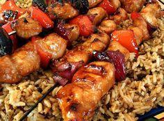"""Honey Chicken Kabobs   """"The best summer food ever you ask? Kabobs! The best kabobs you question? Honey chicken! Who knew oriental chicken would make good kabobs? -Best served over chicken friend rice."""""""