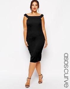 Ingrandisci Esclusiva ASOS CURVE - Vestito stile Bardot testurizzato con taglio allungato