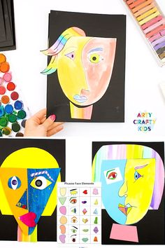 Picasso Faces - Easy Art for Kids. With a printable Picasso drawing guide and face templates, this Picasso art project is made easy for kids and teachers! drawing face Picasso Face Art - Easy Art for Kids Art Picasso, Picasso Drawing, Kunst Picasso, Picasso Kids, Picasso Portraits, Picasso Style, Drawing Drawing, Easy Art For Kids, Crafts For Kids