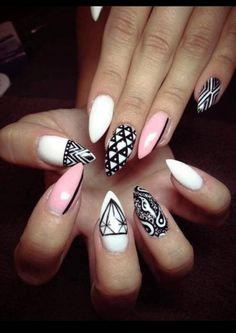 Pink black and white nails