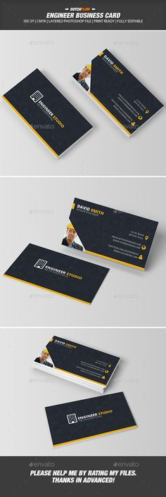 Engineer Business Card Template PSD
