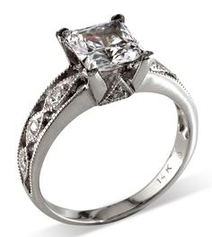 Vintage Inspired White Gold and Princess Cut by Karinamattei, $755.00