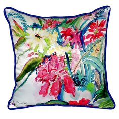 Multi Florals Extra Large Zippered Indoor or Outdoor Pillow 22x22 Extra large indoor/outdoor pillows with a zippered cover and a removable polyfill insert. Square pillows measure 22x22 and rectangular pillows measure 20x24.