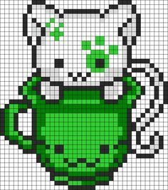 DIY this Lovely Green Teacup Kitty Perler Hama Beads Pattern / Bead Sprite Kandi Patterns Made by FreakShowFix! - Sprite - Ideas of Sprite Melty Bead Patterns, Pearler Bead Patterns, Kandi Patterns, Perler Patterns, Beading Patterns, Bracelet Patterns, Diy Perler Beads, Perler Bead Art, Pixel Pattern