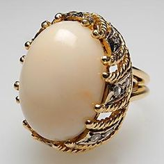 Vintage Cocktail Rings Angel Skin Coral & Diamond Ring Solid 18K Gold